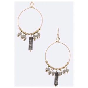 Natural gray abalone dangle earrings